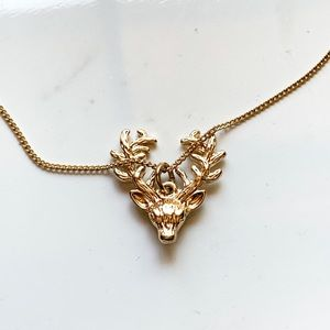 NEW Gold-Tone Deer Antlers Charm Boho Necklace